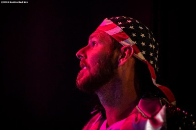 LEDYARD, CT - JANUARY 19: Chris Sale #41 of the Boston Red Sox reacts as he wears a costume during the 2019 Red Sox Winter Weekend on January 19, 2019 at Foxwoods Resort & Casino in Ledyard, Connecticut. (Photo by Billie Weiss/Boston Red Sox/Getty Images) *** Local Caption *** Chris Sale