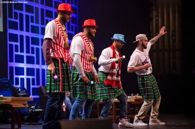 LEDYARD, CT - JANUARY 19: Chris Sale #41, Eduardo Rodriguez #52, Mookie Betts #50, and Blake Swihart #23 of the Boston Red Sox dance during the 2019 Red Sox Winter Weekend on January 19, 2019 at Foxwoods Resort & Casino in Ledyard, Connecticut. (Photo by Billie Weiss/Boston Red Sox/Getty Images) *** Local Caption *** Chris Sale; Eduardo Rodriguez; Mookie Betts; Blake Swihart