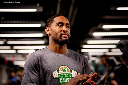 January 24, 2019 , Boston, MA: Boston Celtics Point Guard Brad Wanamaker and former Boston Celtics Dana Barros attend a Fit For A Cause event at Boston Scientific in Marlborough, Massachusetts Thursday, January 24, 2019. (Photo by Billie Weiss/Boston Celtics)