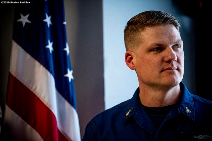 January 28, 2019 , Boston, MA: A member of the Coast Guard looks on during an appreciation luncheon for close to 500 Massachusetts Coast Guard members and their families as a way to thank them for their service during the partial government shutdown at the Coast Guard Base in Boston, Massachusetts Monday, January 28, 2019. (Photo by Billie Weiss/Boston Red Sox)