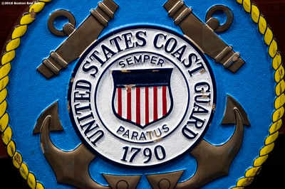 January 28, 2019 , Boston, MA: The United States Coast Guard seal is displayed during an appreciation luncheon for close to 500 Massachusetts Coast Guard members and their families as a way to thank them for their service during the partial government shutdown at the Coast Guard Base in Boston, Massachusetts Monday, January 28, 2019. (Photo by Billie Weiss/Boston Red Sox)