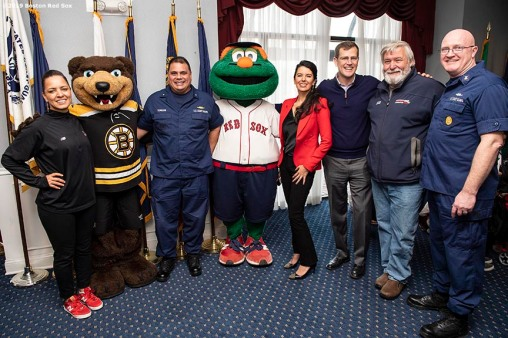 January 28, 2019 , Boston, MA: Boston Red Sox Foundation Executive Director Bekah Salwasser, Boston Bruins mascot Blades, Admiral Andy Tiongson, First Coast District Commander for New England, Boston Red Sox mascot Wally, Red Sox Foundation Board Member Linda Pizzuti Henry, Boston Red Sox President & CEO Sam Kennedy, President of the Massachusetts Military Support Foundation Don Cox, and Master Chief William D. Hollandsworth United States Coast Guard, First Coast Guard District Command Master Chief pose for a photograph during an appreciation luncheon for close to 500 Massachusetts Coast Guard members and their families as a way to thank them for their service during the partial government shutdown at the Coast Guard Base in Boston, Massachusetts Monday, January 28, 2019. (Photo by Billie Weiss/Boston Red Sox)