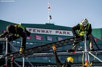 January 16, 2017 , Boston, MA: Construction continues on the Red Bull Crashed Ice ramp at Fenway Park in Boston, Massachusetts Wednesday, January 16, 2017. (Photo by Billie Weiss/Boston Red Sox)