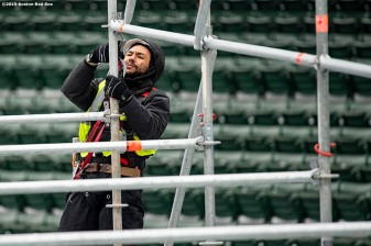 January 23, 2019 , Boston, MA: Construction continues on the Red Bull Crashed Ice ramp at Fenway Park in Boston, Massachusetts Wednesday, January 23, 2019. (Photo by Billie Weiss/Boston Red Sox)