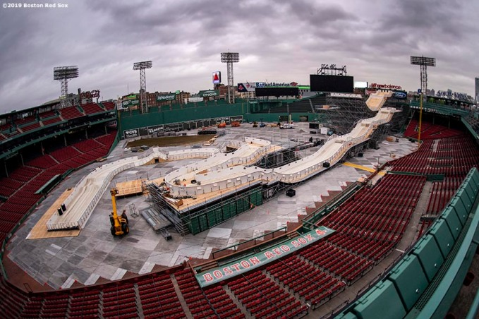 January 29, 2019 , Boston, MA: Construction continues on the Red Bull Crashed Ice ramp at Fenway Park in Boston, Massachusetts Tuesday, January 29, 2019. (Photo by Billie Weiss/Boston Red Sox)