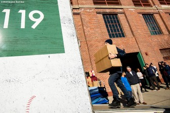 February 4, 2019 , Boston, MA: Equipment is loaded into the truck during 2019 Truck Day at Fenway Park in Boston, Massachusetts Monday, February 4, 2019. (Photo by Billie Weiss/Boston Red Sox)