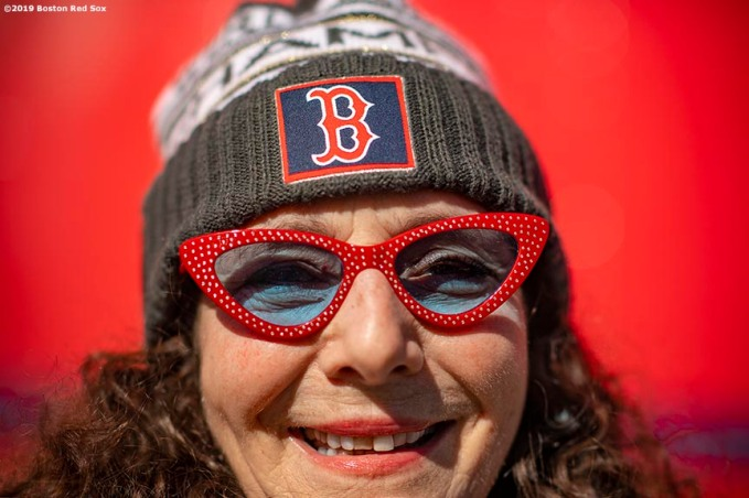 February 4, 2019 , Boston, MA: A fan poses for a portrait during 2019 Truck Day at Fenway Park in Boston, Massachusetts Monday, February 4, 2019. (Photo by Billie Weiss/Boston Red Sox)