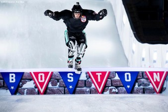 BOSTON, MA - FEBRUARY 7: A competitor practices before the Red Bull Crashed Ice event on February 7, 2019 at Fenway Park in Boston, Massachusetts. (Photo by Billie Weiss/Boston Red Sox/Getty Images) *** Local Caption ***