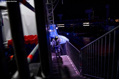 BOSTON, MA - FEBRUARY 8: A competitor walks up the stairs during the Red Bull Crashed Ice event on February 8, 2019 at Fenway Park in Boston, Massachusetts. (Photo by Billie Weiss/Boston Red Sox/Getty Images) *** Local Caption ***