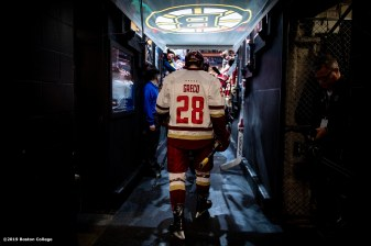 February 11, 2019, Boston, MA: Ron Greco #28 of Boston College walks onto the ice during the 2019 Boston Beanpot Championship against Northeastern University at TD Garden in Boston, Massachusetts Monday, February 11, 2019. (Photo by Billie Weiss/Boston College)