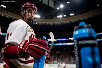 February 11, 2019, Boston, MA: Jack McBain #11 of Boston College takes a drink during the 2019 Boston Beanpot Championship against Northeastern University at TD Garden in Boston, Massachusetts Monday, February 11, 2019. (Photo by Billie Weiss/Boston College)