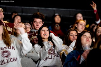 February 11, 2019, Boston, MA: Fans of Boston College cheer in the student section during the 2019 Boston Beanpot Championship against Northeastern University at TD Garden in Boston, Massachusetts Monday, February 11, 2019. (Photo by Billie Weiss/Boston College)
