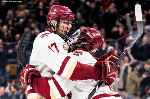 February 11, 2019, Boston, MA: JD Dudek #15 of Boston College reacts after scoring a gaol in the third period during the 2019 Boston Beanpot Championship against Northeastern University at TD Garden in Boston, Massachusetts Monday, February 11, 2019. (Photo by Billie Weiss/Boston College)