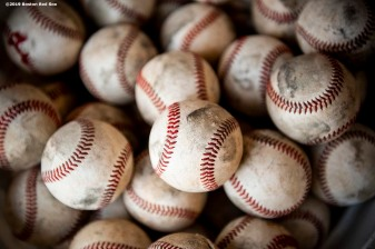 FT. MYERS, FL - FEBRUARY 18: Baseballs are displayed during a Boston Red Sox team workout on February 18, 2019 at JetBlue Park at Fenway South in Fort Myers, Florida. (Photo by Billie Weiss/Boston Red Sox/Getty Images) *** Local Caption ***