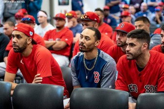 FT. MYERS, FL - FEBRUARY 18: David Price #10, Mookie Betts #50, and J.D. Martinez #28 of the Boston Red Sox look on during a team meeting before a team workout on February 18, 2019 at JetBlue Park at Fenway South in Fort Myers, Florida. (Photo by Billie Weiss/Boston Red Sox/Getty Images) *** Local Caption *** David Price; Mookie Betts; J.D. Martinez