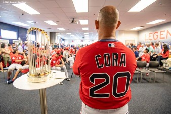 FT. MYERS, FL - FEBRUARY 18: Manager Alex Cora of the Boston Red Sox speaks to the team alongside the 2018 World Series trophy during a team meeting before a team workout on February 18, 2019 at JetBlue Park at Fenway South in Fort Myers, Florida. (Photo by Billie Weiss/Boston Red Sox/Getty Images) *** Local Caption *** Alex Cora