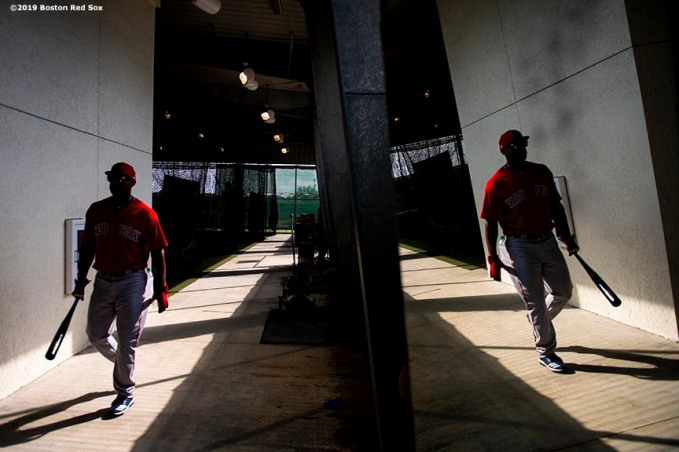 FT. MYERS, FL - FEBRUARY 18: Eduardo Nunez #36 of the Boston Red Sox walks through the batting cage during a team workout on February 18, 2019 at JetBlue Park at Fenway South in Fort Myers, Florida. (Photo by Billie Weiss/Boston Red Sox/Getty Images) *** Local Caption *** Eduardo Nunez