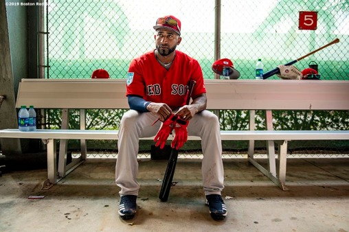 FT. MYERS, FL - FEBRUARY 18: Eduardo Nunez #36 of the Boston Red Sox looks on in the batting cage during a team workout on February 18, 2019 at JetBlue Park at Fenway South in Fort Myers, Florida. (Photo by Billie Weiss/Boston Red Sox/Getty Images) *** Local Caption *** Eduardo Nunez