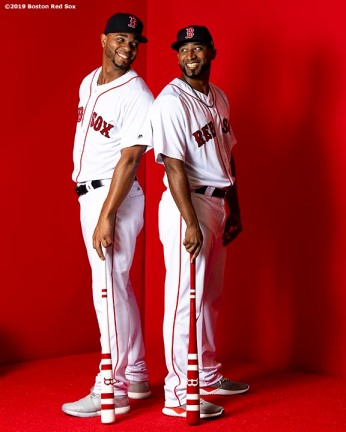 FT. MYERS, FL - FEBRUARY 19: Eduardo Nunez #36 and Xander Bogaerts #2 of the Boston Red Sox pose for a portrait on team photo day on February 19, 2019 at JetBlue Park at Fenway South in Fort Myers, Florida. (Photo by Billie Weiss/Boston Red Sox/Getty Images) *** Local Caption *** Eduardo Nunez; Xander Bogaerts
