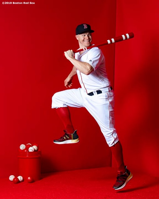 FT. MYERS, FL - FEBRUARY 19: Brock Holt #12 of the Boston Red Sox poses for a portrait on team photo day on February 19, 2019 at JetBlue Park at Fenway South in Fort Myers, Florida. (Photo by Billie Weiss/Boston Red Sox/Getty Images) *** Local Caption *** Brock Holt