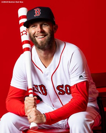 FT. MYERS, FL - FEBRUARY 19: Dustin Pedroia #15 of the Boston Red Sox poses for a portrait on team photo day on February 19, 2019 at JetBlue Park at Fenway South in Fort Myers, Florida. (Photo by Billie Weiss/Boston Red Sox/Getty Images) *** Local Caption *** Dustin Pedroia