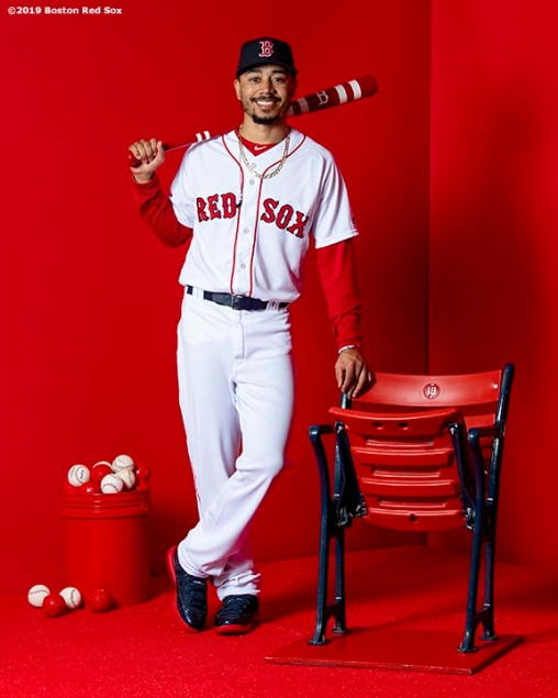 FT. MYERS, FL - FEBRUARY 19: Mookie Betts #50 of the Boston Red Sox poses for a portrait on team photo day on February 19, 2019 at JetBlue Park at Fenway South in Fort Myers, Florida. (Photo by Billie Weiss/Boston Red Sox/Getty Images) *** Local Caption *** Mookie Betts