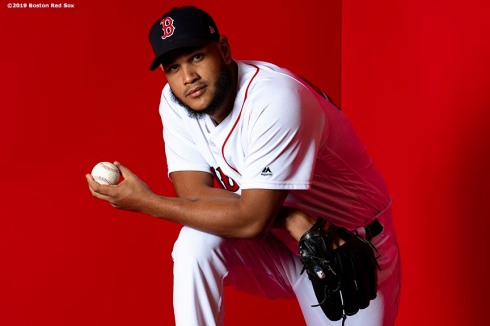 FT. MYERS, FL - FEBRUARY 19: Eduardo Rodriguez #57 of the Boston Red Sox poses for a portrait on team photo day on February 19, 2019 at JetBlue Park at Fenway South in Fort Myers, Florida. (Photo by Billie Weiss/Boston Red Sox/Getty Images) *** Local Caption *** Eduardo Rodriguez