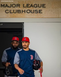 FT. MYERS, FL - FEBRUARY 20: Jackie Bradley Jr. #19 and Mookie Betts #50 of the Boston Red Sox exit the clubhouse during a team workout on February 20, 2019 at JetBlue Park at Fenway South in Fort Myers, Florida. (Photo by Billie Weiss/Boston Red Sox/Getty Images) *** Local Caption *** Jackie Bradley Jr.; Mookie Betts