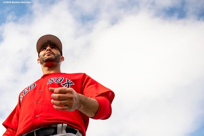 FT. MYERS, FL - FEBRUARY 20: J.D. Martinez #28 of the Boston Red Sox looks on during a team workout on February 20, 2019 at JetBlue Park at Fenway South in Fort Myers, Florida. (Photo by Billie Weiss/Boston Red Sox/Getty Images) *** Local Caption *** J.D. Martinez