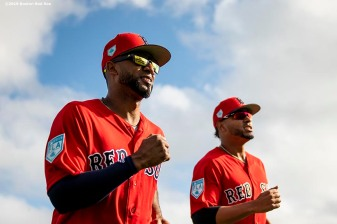 FT. MYERS, FL - FEBRUARY 20: Eduardo Nunez #36 and Xander Bogaerts #2 of the Boston Red Sox warm up during a team workout on February 20, 2019 at JetBlue Park at Fenway South in Fort Myers, Florida. (Photo by Billie Weiss/Boston Red Sox/Getty Images) *** Local Caption *** Eduardo Nunez; Xander Bogaerts