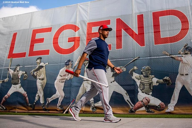 FT. MYERS, FL - FEBRUARY 20: Manager Alex Cora of the Boston Red Sox walks toward the field during a team workout on February 20, 2019 at JetBlue Park at Fenway South in Fort Myers, Florida. (Photo by Billie Weiss/Boston Red Sox/Getty Images) *** Local Caption *** Alex Cora