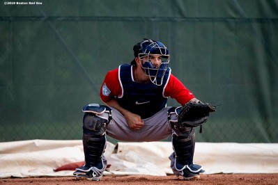 FT. MYERS, FL - FEBRUARY 20: Blake Swihart #23 of the Boston Red Sox prepares to catch a pitch during a team workout on February 20, 2019 at JetBlue Park at Fenway South in Fort Myers, Florida. (Photo by Billie Weiss/Boston Red Sox/Getty Images) *** Local Caption *** Blake Swihart