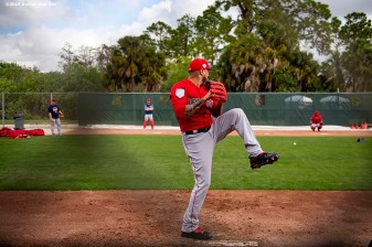 FT. MYERS, FL - FEBRUARY 20: Hector Velazquez #76 of the Boston Red Sox pitches during a team workout on February 20, 2019 at JetBlue Park at Fenway South in Fort Myers, Florida. (Photo by Billie Weiss/Boston Red Sox/Getty Images) *** Local Caption *** Hector Velazquez