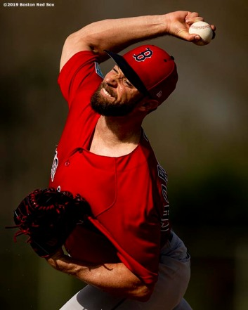 FT. MYERS, FL - FEBRUARY 20: Tyler Thornburg #47 of the Boston Red Sox pitches during a team workout on February 20, 2019 at JetBlue Park at Fenway South in Fort Myers, Florida. (Photo by Billie Weiss/Boston Red Sox/Getty Images) *** Local Caption *** Tyler Thornburg