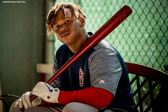 FT. MYERS, FL - FEBRUARY 20: Rafael Devers #11 of the Boston Red Sox poses for a portrait during a team workout on February 20, 2019 at JetBlue Park at Fenway South in Fort Myers, Florida. (Photo by Billie Weiss/Boston Red Sox/Getty Images) *** Local Caption *** Rafael Devers
