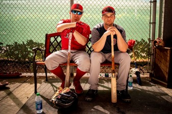 FT. MYERS, FL - FEBRUARY 20: Brock Holt #12 and Andrew Benintendi #16 of the Boston Red Sox pose for a portrait during a team workout on February 20, 2019 at JetBlue Park at Fenway South in Fort Myers, Florida. (Photo by Billie Weiss/Boston Red Sox/Getty Images) *** Local Caption *** Andrew Benintendi; Brock Holt
