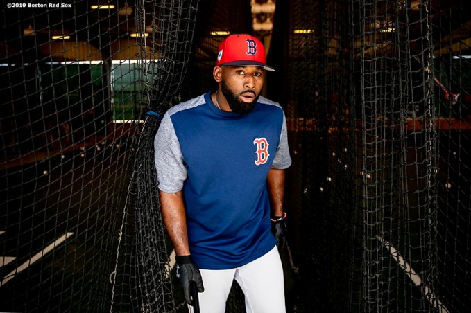 FT. MYERS, FL - FEBRUARY 20: Jackie Bradley Jr. #19 of the Boston Red Sox reacts as he exits the batting cage during a team workout on February 20, 2019 at JetBlue Park at Fenway South in Fort Myers, Florida. (Photo by Billie Weiss/Boston Red Sox/Getty Images) *** Local Caption *** Jackie Bradley Jr.