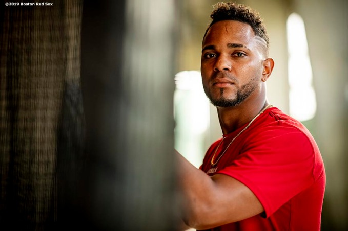 FT. MYERS, FL - FEBRUARY 21: Xander Bogaerts #2 of the Boston Red Sox poses for a portrait in the batting cage during a team workout on February 21, 2019 at JetBlue Park at Fenway South in Fort Myers, Florida. (Photo by Billie Weiss/Boston Red Sox/Getty Images) *** Local Caption *** Xander Bogaerts