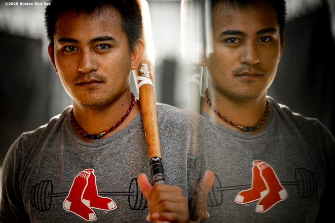 FT. MYERS, FL - FEBRUARY 21: Tzu-Wei Lin #5 of the Boston Red Sox poses for a portrait in the batting cage during a team workout on February 21, 2019 at JetBlue Park at Fenway South in Fort Myers, Florida. (Photo by Billie Weiss/Boston Red Sox/Getty Images) *** Local Caption *** Tzu-Wei Lin