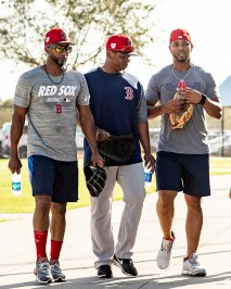 FT. MYERS, FL - FEBRUARY 21: Eduardo Nunez #36, Rafael Devers #11, and Xander Bogaerts #2 of the Boston Red Sox walk into the clubhouse during a team workout on February 21, 2019 at JetBlue Park at Fenway South in Fort Myers, Florida. (Photo by Billie Weiss/Boston Red Sox/Getty Images) *** Local Caption *** Eduardo Nunez; Rafael Devers; Xander Bogaerts