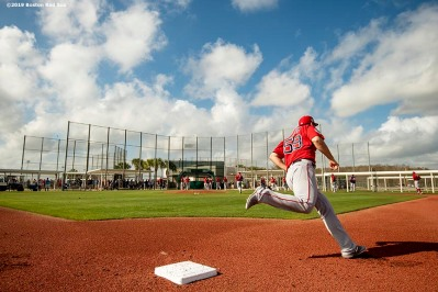 FT. MYERS, FL - FEBRUARY 21: Sam Travis #59 of the Boston Red Sox rounds the bases during a team workout on February 21, 2019 at JetBlue Park at Fenway South in Fort Myers, Florida. (Photo by Billie Weiss/Boston Red Sox/Getty Images) *** Local Caption *** Sam Travis