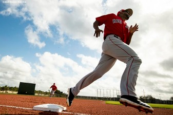 FT. MYERS, FL - FEBRUARY 21: Eduardo Nunez #36 of the Boston Red Sox rounds the bases during a team workout on February 21, 2019 at JetBlue Park at Fenway South in Fort Myers, Florida. (Photo by Billie Weiss/Boston Red Sox/Getty Images) *** Local Caption *** Eduardo Nunez