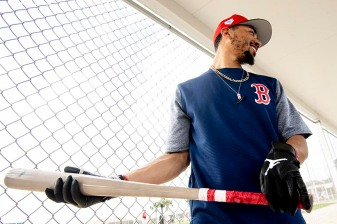 FT. MYERS, FL - FEBRUARY 21: Mookie Betts #50 of the Boston Red Sox reacts during a team workout on February 21, 2019 at JetBlue Park at Fenway South in Fort Myers, Florida. (Photo by Billie Weiss/Boston Red Sox/Getty Images) *** Local Caption *** Mookie Betts