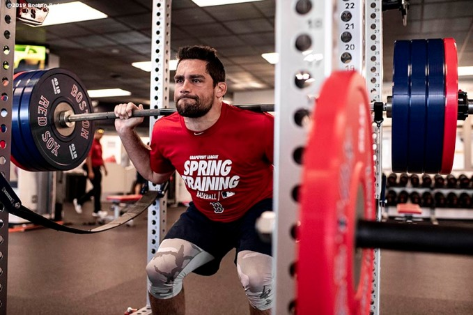 FT. MYERS, FL - FEBRUARY 23: Nathan Eovaldi #17 of the Boston Red Sox lifts weights before a game against the New York Yankees on February 23, 2019 at JetBlue Park at Fenway South in Fort Myers, Florida. (Photo by Billie Weiss/Boston Red Sox/Getty Images) *** Local Caption *** Nathan Eovaldi