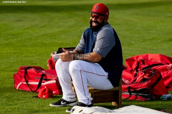 FT. MYERS, FL - FEBRUARY 23: Sandy Leon #3 of the Boston Red Sox reacts before a game against the New York Yankees on February 23, 2019 at JetBlue Park at Fenway South in Fort Myers, Florida. (Photo by Billie Weiss/Boston Red Sox/Getty Images) *** Local Caption *** Sandy Leon