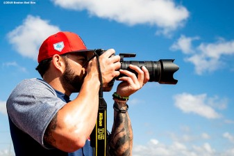 FT. MYERS, FL - FEBRUARY 23: Blake Swihart #23 of the Boston Red Sox takes photographs before a game against the New York Yankees on February 23, 2019 at JetBlue Park at Fenway South in Fort Myers, Florida. (Photo by Billie Weiss/Boston Red Sox/Getty Images) *** Local Caption *** Blake Swihart