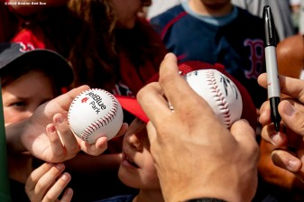 FT. MYERS, FL - FEBRUARY 23: Fans ask for autographs before a game between the Boston Red Sox and the New York Yankees on February 23, 2019 at JetBlue Park at Fenway South in Fort Myers, Florida. (Photo by Billie Weiss/Boston Red Sox/Getty Images) *** Local Caption ***