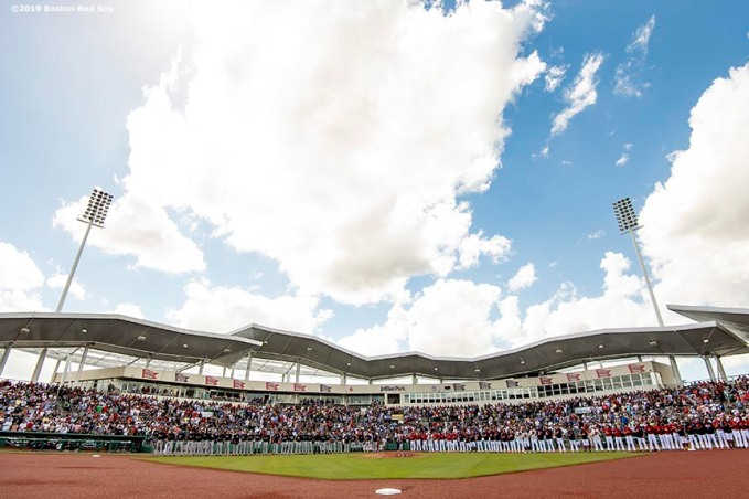 FT. MYERS, FL - FEBRUARY 23: Starting lineups are introduced before a game between the Boston Red Sox and the New York Yankees on February 23, 2019 at JetBlue Park at Fenway South in Fort Myers, Florida. (Photo by Billie Weiss/Boston Red Sox/Getty Images) *** Local Caption ***