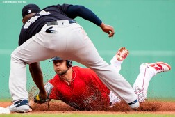 FT. MYERS, FL - FEBRUARY 23: Michael Chavis #65 of the Boston Red Sox is tagged out by Miguel Andujar #41 of the New York Yankees during the second inning of a game on February 23, 2019 at JetBlue Park at Fenway South in Fort Myers, Florida. (Photo by Billie Weiss/Boston Red Sox/Getty Images) *** Local Caption *** Michael Chavis; Miguel Andujar