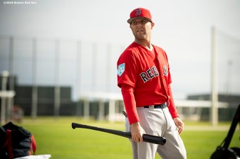FT. MYERS, FL - FEBRUARY 25: Dustin Pedroia #15 of the Boston Red Sox looks on during a team workout on February 25, 2019 at JetBlue Park at Fenway South in Fort Myers, Florida. (Photo by Billie Weiss/Boston Red Sox/Getty Images) *** Local Caption *** Dustin Pedroia